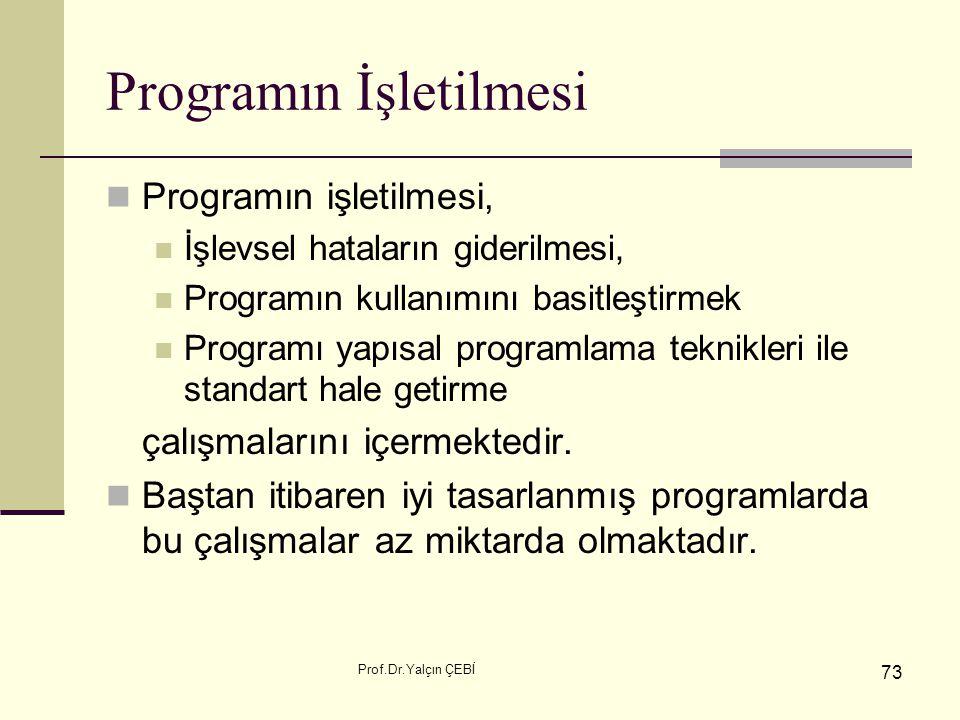 Prof.Dr.Yalçın ÇEBİ 73 Programın İşletilmesi Programın işletilmesi, İşlevsel hataların giderilmesi, Programın kullanımını basitleştirmek Programı yapı