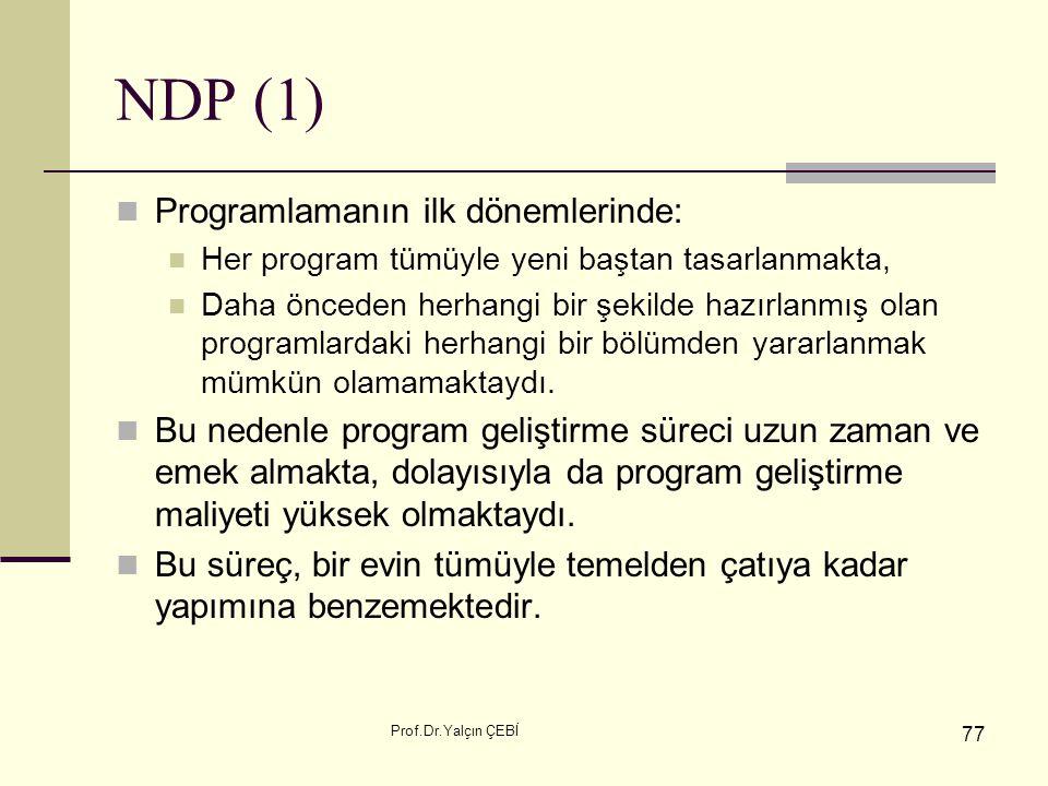 Prof.Dr.Yalçın ÇEBİ 77 NDP (1) Programlamanın ilk dönemlerinde: Her program tümüyle yeni baştan tasarlanmakta, Daha önceden herhangi bir şekilde hazır