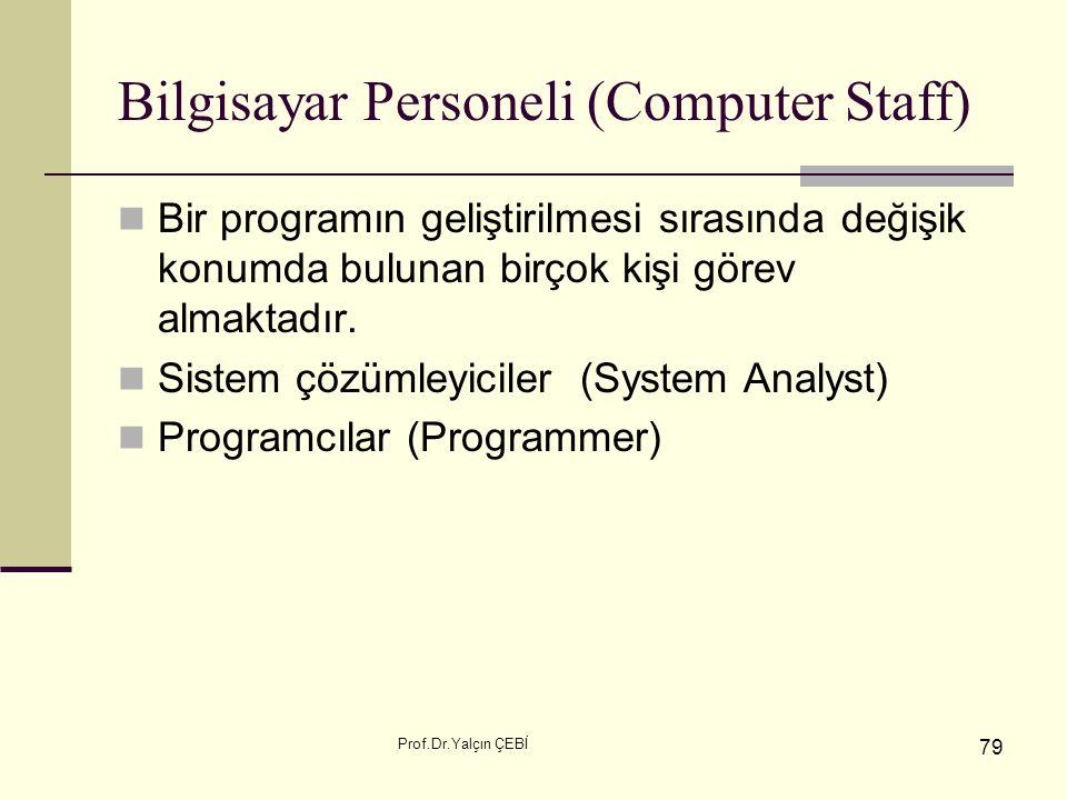 Prof.Dr.Yalçın ÇEBİ 79 Bilgisayar Personeli (Computer Staff) Bir programın geliştirilmesi sırasında değişik konumda bulunan birçok kişi görev almaktad