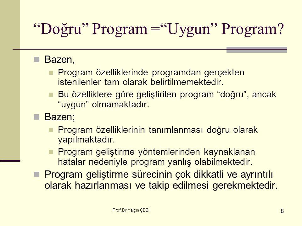 """Prof.Dr.Yalçın ÇEBİ 8 """"Doğru"""" Program =""""Uygun"""" Program? Bazen, Program özelliklerinde programdan gerçekten istenilenler tam olarak belirtilmemektedir."""