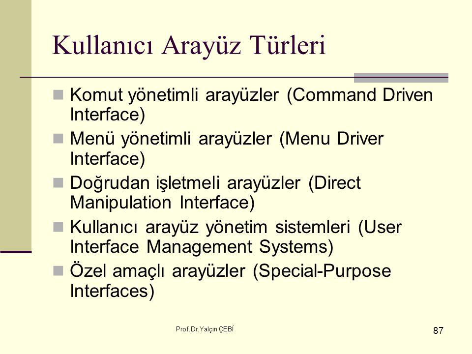 Prof.Dr.Yalçın ÇEBİ 87 Kullanıcı Arayüz Türleri Komut yönetimli arayüzler (Command Driven Interface) Menü yönetimli arayüzler (Menu Driver Interface)