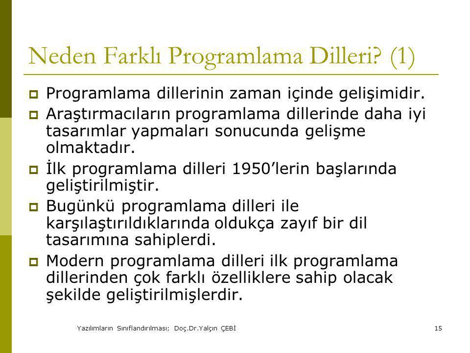 Yazılımların Sınıflandırılması; Doç.Dr.Yalçın ÇEBİ15 Neden Farklı Programlama Dilleri.