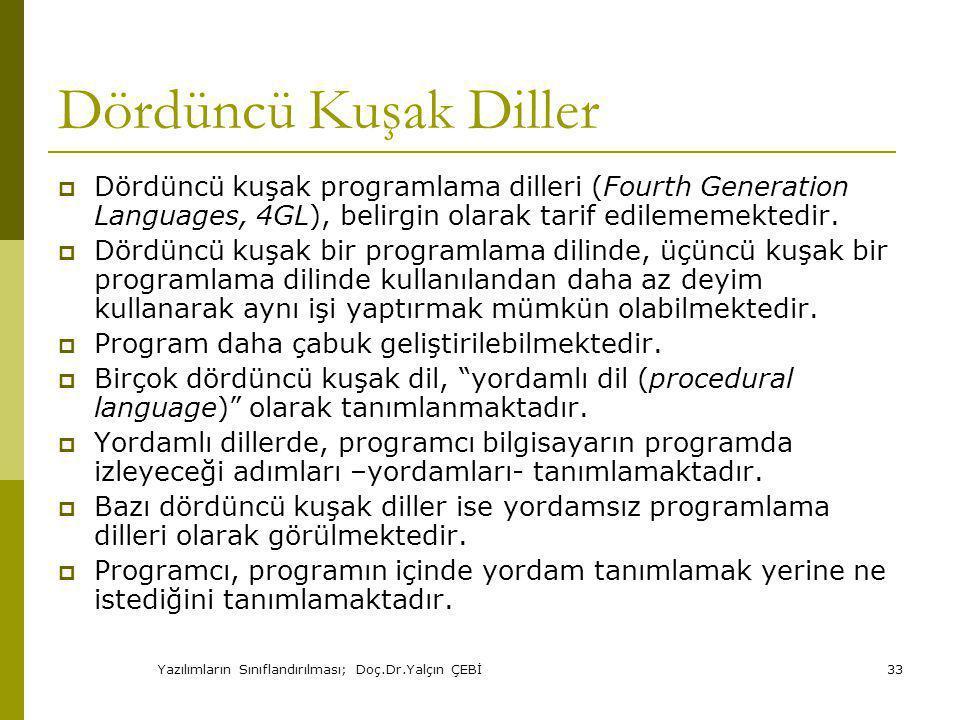 Yazılımların Sınıflandırılması; Doç.Dr.Yalçın ÇEBİ33 Dördüncü Kuşak Diller  Dördüncü kuşak programlama dilleri (Fourth Generation Languages, 4GL), belirgin olarak tarif edilememektedir.
