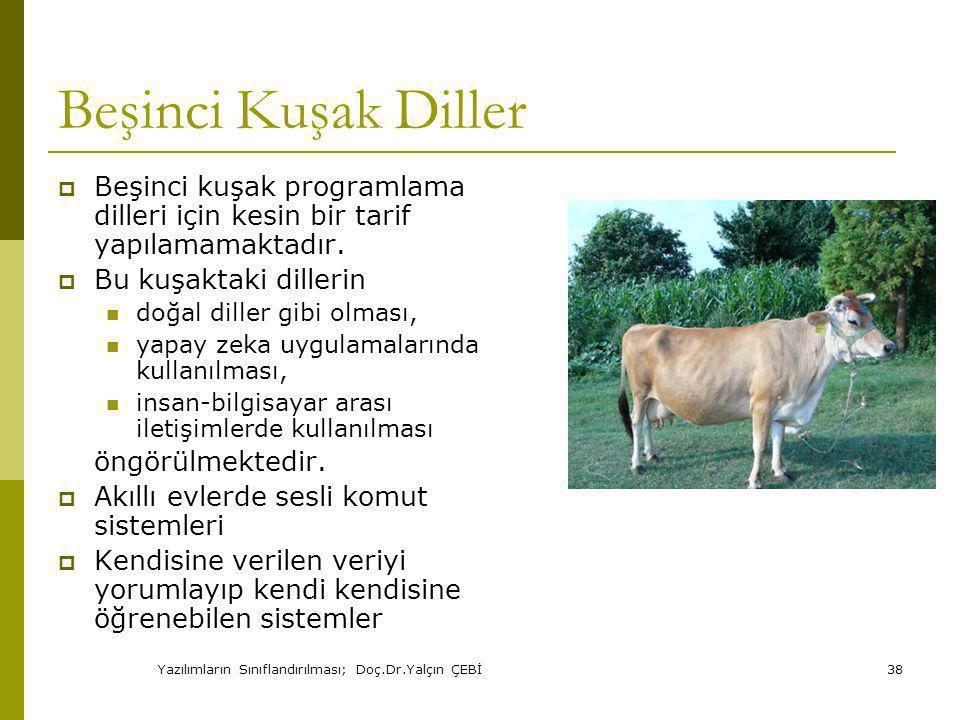 Yazılımların Sınıflandırılması; Doç.Dr.Yalçın ÇEBİ38 Beşinci Kuşak Diller  Beşinci kuşak programlama dilleri için kesin bir tarif yapılamamaktadır.