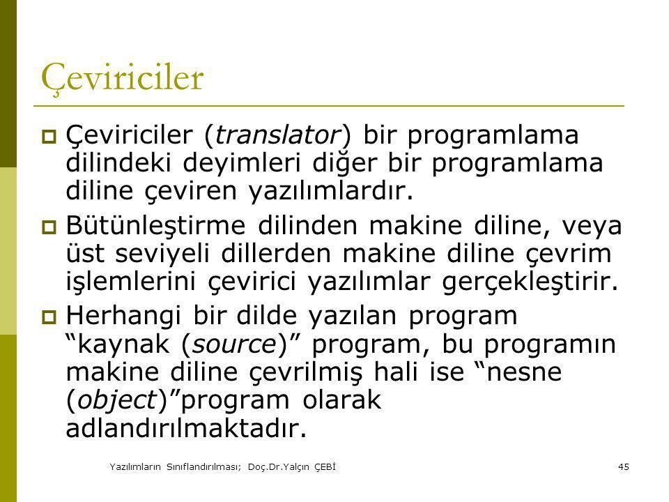 Yazılımların Sınıflandırılması; Doç.Dr.Yalçın ÇEBİ45 Çeviriciler  Çeviriciler (translator) bir programlama dilindeki deyimleri diğer bir programlama diline çeviren yazılımlardır.