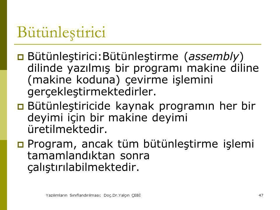 Yazılımların Sınıflandırılması; Doç.Dr.Yalçın ÇEBİ47 Bütünleştirici  Bütünleştirici:Bütünleştirme (assembly) dilinde yazılmış bir programı makine diline (makine koduna) çevirme işlemini gerçekleştirmektedirler.
