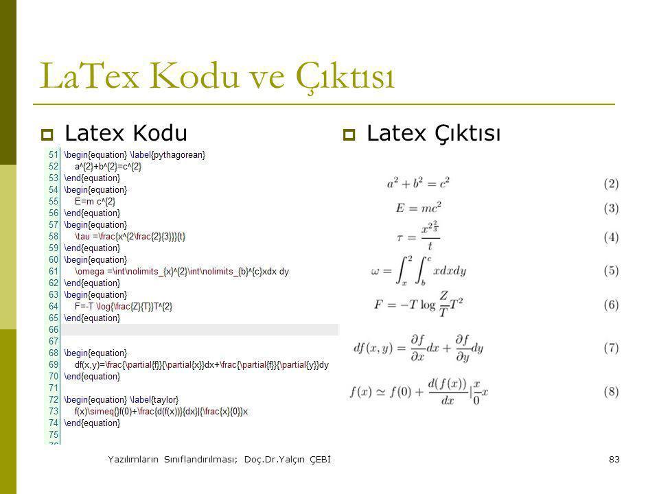 Yazılımların Sınıflandırılması; Doç.Dr.Yalçın ÇEBİ83 LaTex Kodu ve Çıktısı  Latex Kodu  Latex Çıktısı