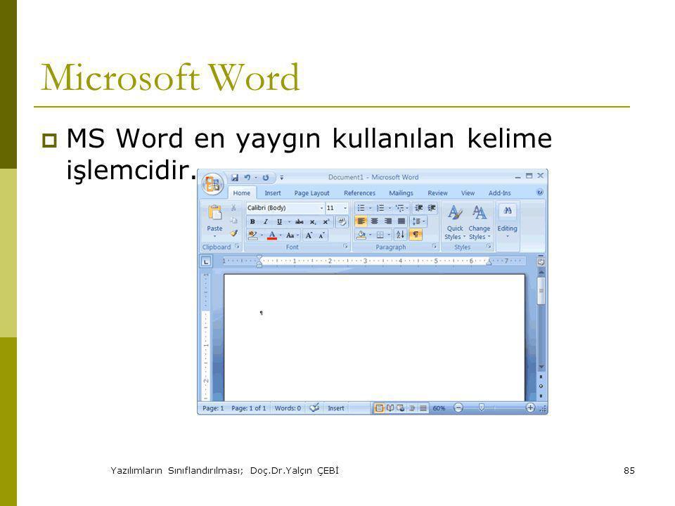 Yazılımların Sınıflandırılması; Doç.Dr.Yalçın ÇEBİ85 Microsoft Word  MS Word en yaygın kullanılan kelime işlemcidir.