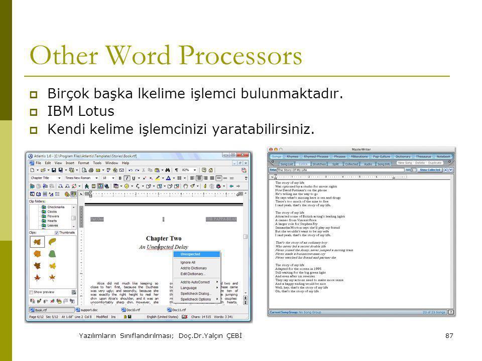 Yazılımların Sınıflandırılması; Doç.Dr.Yalçın ÇEBİ87 Other Word Processors  Birçok başka lkelime işlemci bulunmaktadır.