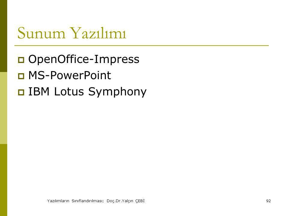 Yazılımların Sınıflandırılması; Doç.Dr.Yalçın ÇEBİ92 Sunum Yazılımı  OpenOffice-Impress  MS-PowerPoint  IBM Lotus Symphony