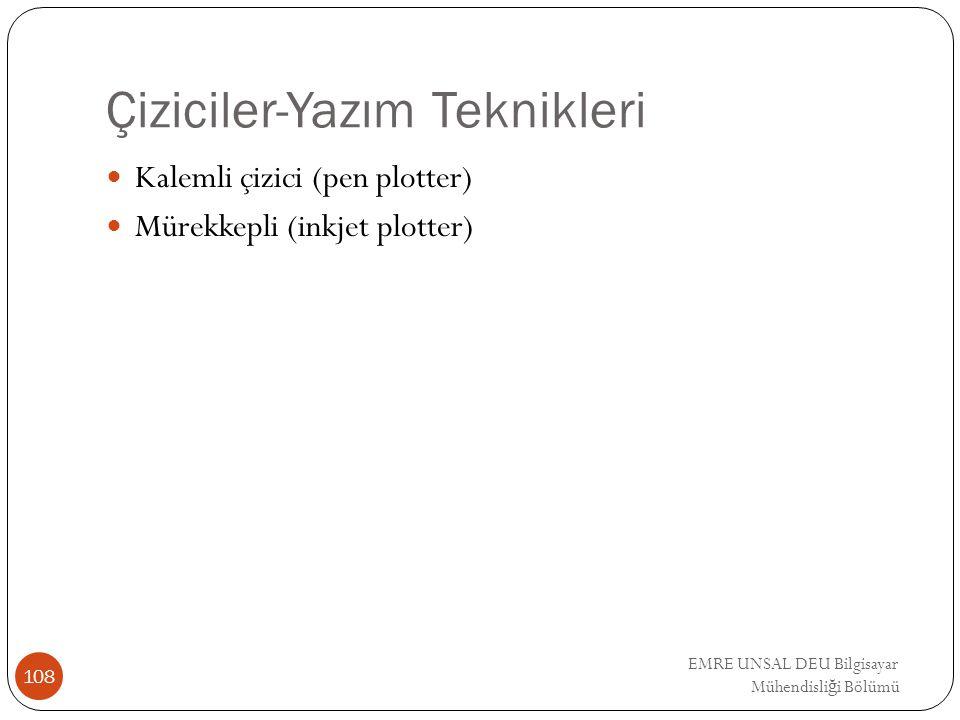 Çiziciler-Yazım Teknikleri Kalemli çizici (pen plotter) Mürekkepli (inkjet plotter) 108