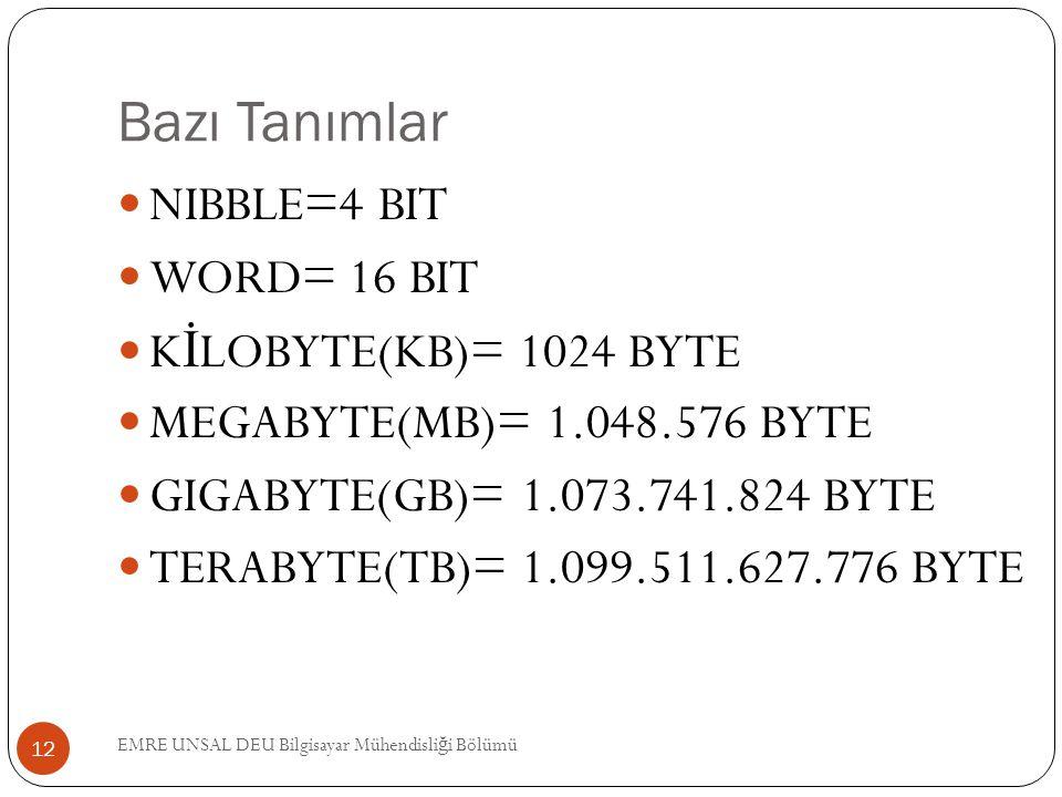 Bazı Tanımlar NIBBLE=4 BIT WORD= 16 BIT K İ LOBYTE(KB)= 1024 BYTE MEGABYTE(MB)= 1.048.576 BYTE GIGABYTE(GB)= 1.073.741.824 BYTE TERABYTE(TB)= 1.099.51