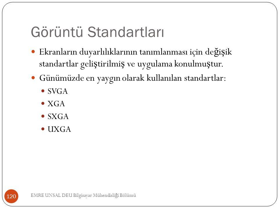 Görüntü Standartları Ekranların duyarlılıklarının tanımlanması için de ğ i ş ik standartlar geli ş tirilmi ş ve uygulama konulmu ş tur. Günümüzde en y