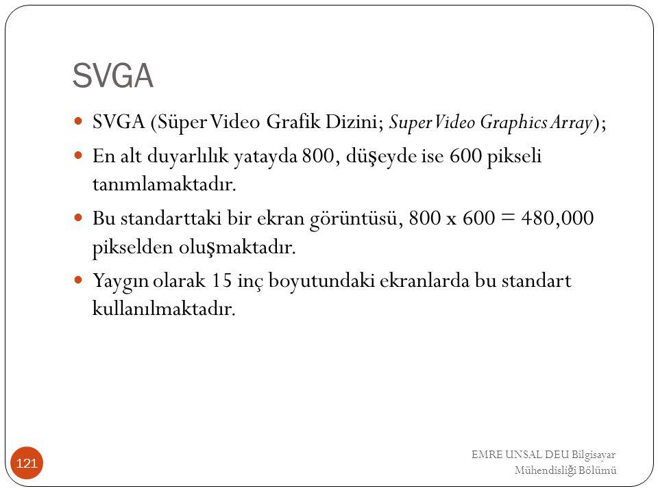SVGA SVGA (Süper Video Grafik Dizini; Super Video Graphics Array); En alt duyarlılık yatayda 800, dü ş eyde ise 600 pikseli tanımlamaktadır. Bu standa