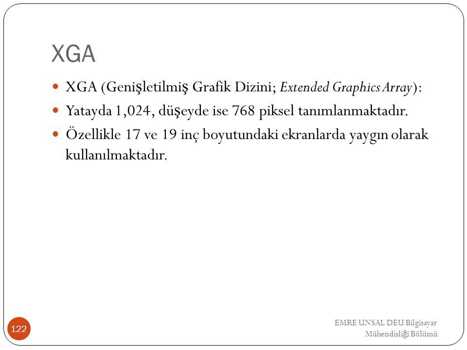 EMRE UNSAL DEU Bilgisayar Mühendisli ğ i Bölümü XGA XGA (Geni ş letilmi ş Grafik Dizini; Extended Graphics Array): Yatayda 1,024, dü ş eyde ise 768 pi