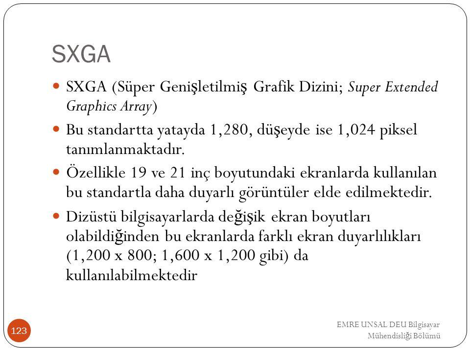 EMRE UNSAL DEU Bilgisayar Mühendisli ğ i Bölümü SXGA SXGA (Süper Geni ş letilmi ş Grafik Dizini; Super Extended Graphics Array) Bu standartta yatayda