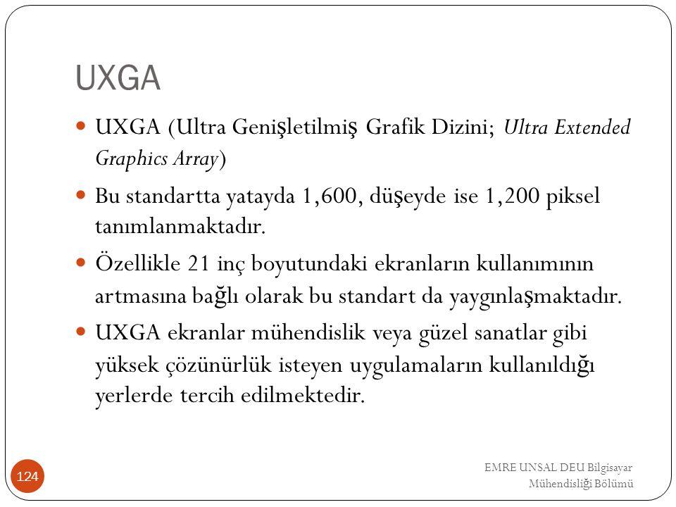EMRE UNSAL DEU Bilgisayar Mühendisli ğ i Bölümü UXGA UXGA (Ultra Geni ş letilmi ş Grafik Dizini; Ultra Extended Graphics Array) Bu standartta yatayda