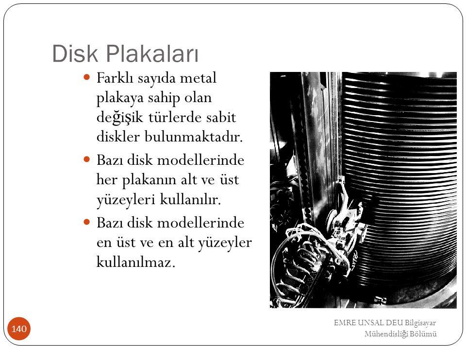EMRE UNSAL DEU Bilgisayar Mühendisli ğ i Bölümü Disk Plakaları Farklı sayıda metal plakaya sahip olan de ğ i ş ik türlerde sabit diskler bulunmaktadır