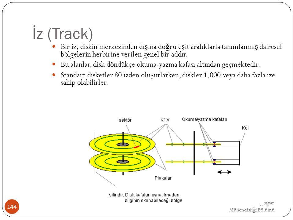 EMRE UNSAL DEU Bilgisayar Mühendisli ğ i Bölümü İz (Track) Bir iz, diskin merkezinden dı ş ına do ğ ru e ş it aralıklarla tanımlanmı ş dairesel bölgel