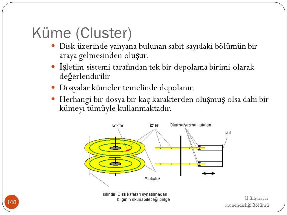 EMRE UNSAL DEU Bilgisayar Mühendisli ğ i Bölümü Küme (Cluster) Disk üzerinde yanyana bulunan sabit sayıdaki bölümün bir araya gelmesinden olu ş ur. İş