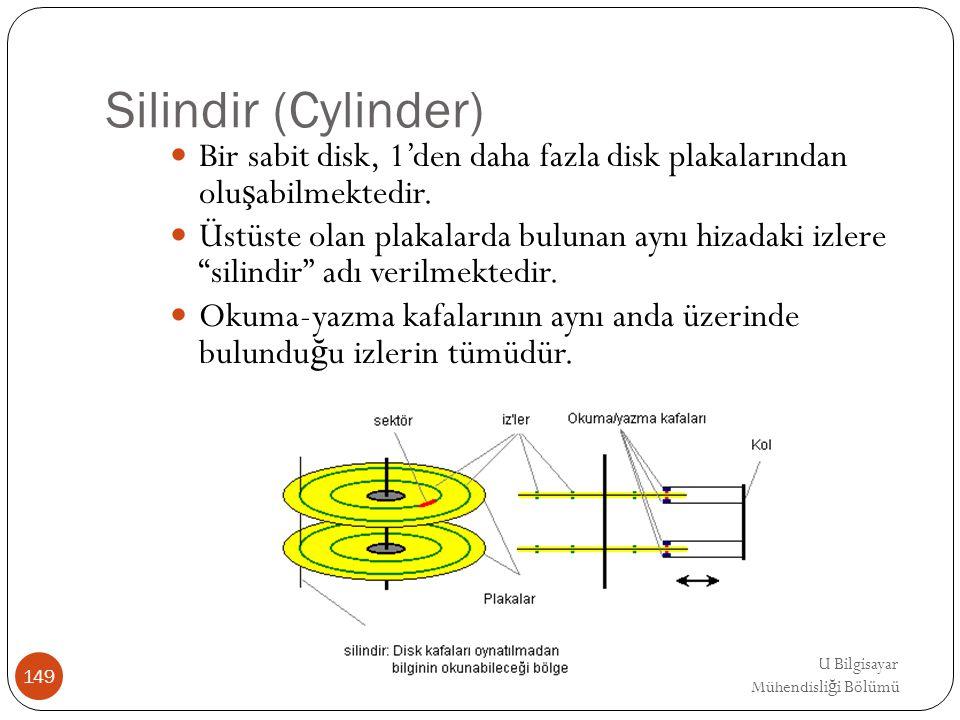 EMRE UNSAL DEU Bilgisayar Mühendisli ğ i Bölümü Silindir (Cylinder) Bir sabit disk, 1'den daha fazla disk plakalarından olu ş abilmektedir. Üstüste ol