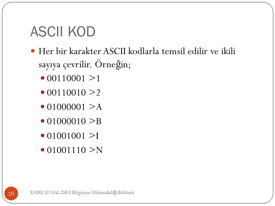 ASCII KOD Her bir karakter ASCII kodlarla temsil edilir ve ikili sayıya çevrilir. Örne ğ in; 00110001 >1 00110010 >2 01000001 >A 01000010 >B 01001001
