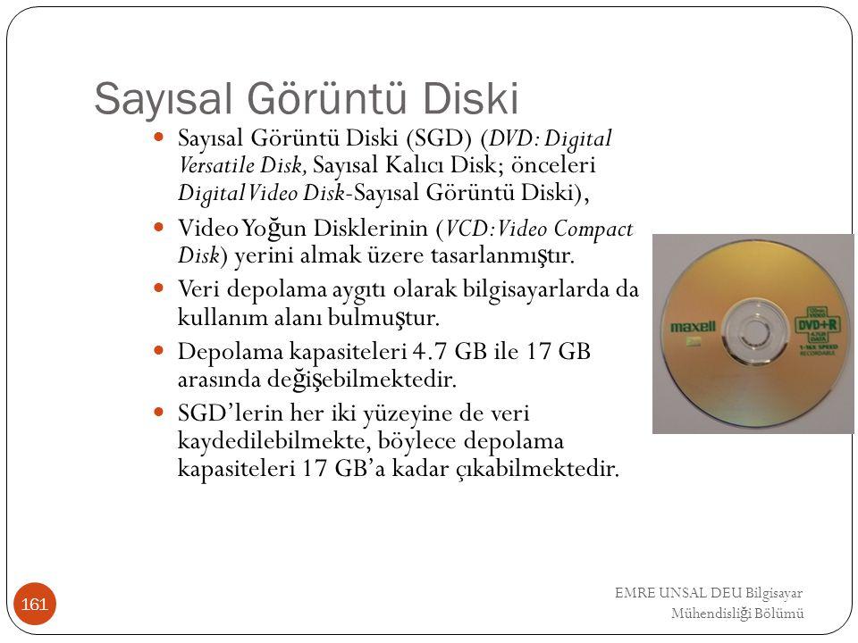 EMRE UNSAL DEU Bilgisayar Mühendisli ğ i Bölümü Sayısal Görüntü Diski Sayısal Görüntü Diski (SGD) (DVD: Digital Versatile Disk, Sayısal Kalıcı Disk; ö