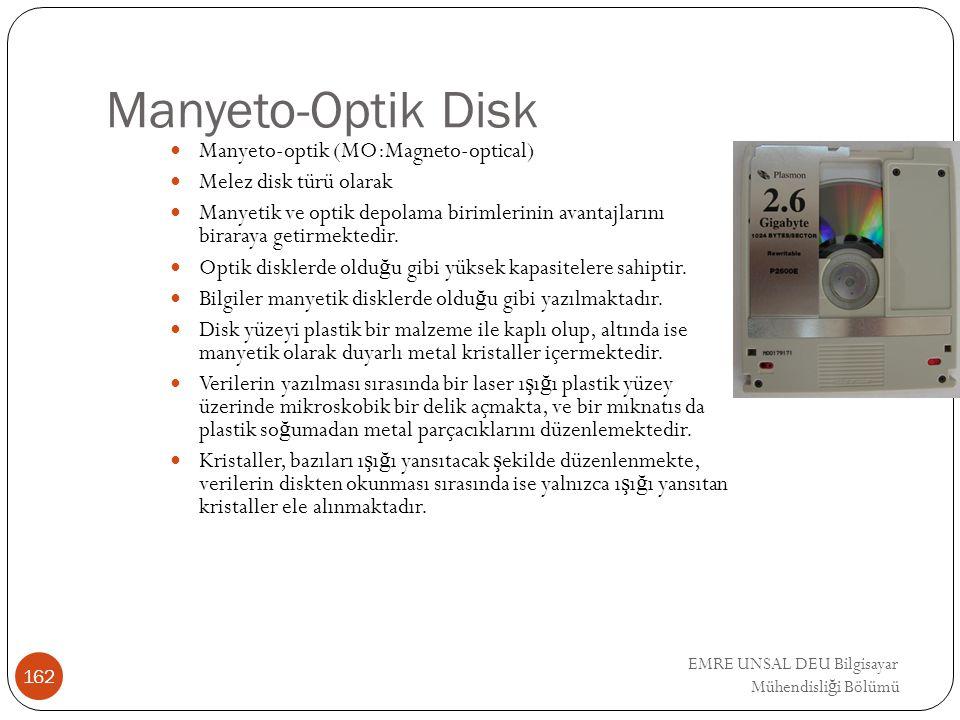 EMRE UNSAL DEU Bilgisayar Mühendisli ğ i Bölümü Manyeto-Optik Disk Manyeto-optik (MO:Magneto-optical) Melez disk türü olarak Manyetik ve optik depolam