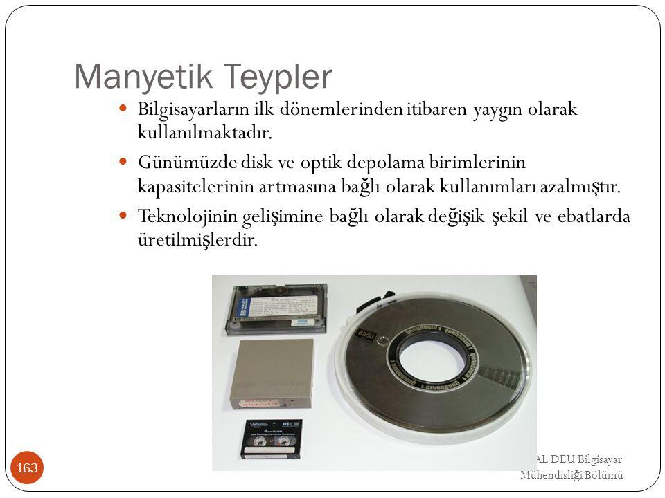EMRE UNSAL DEU Bilgisayar Mühendisli ğ i Bölümü Manyetik Teypler Bilgisayarların ilk dönemlerinden itibaren yaygın olarak kullanılmaktadır. Günümüzde