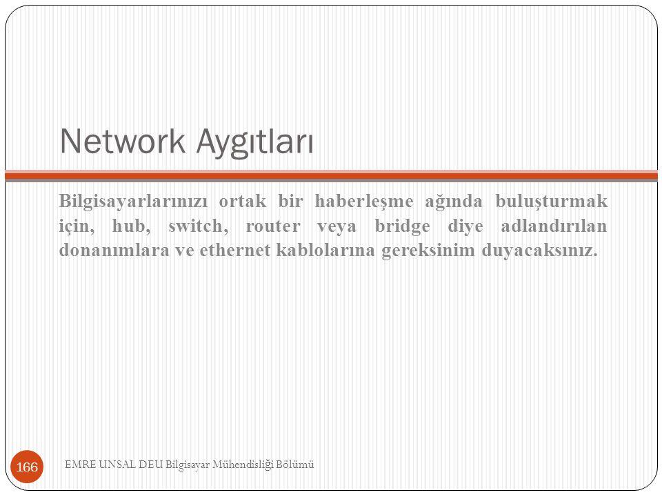 Network Aygıtları Bilgisayarlarınızı ortak bir haberleşme ağında buluşturmak için, hub, switch, router veya bridge diye adlandırılan donanımlara ve et