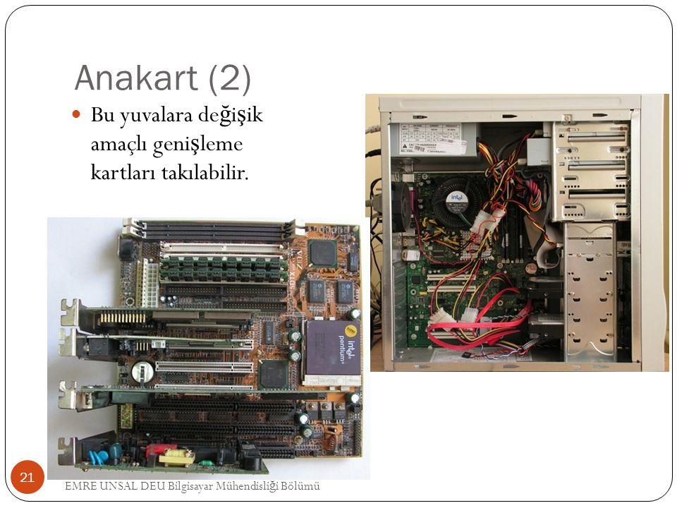 Anakart (2) Bu yuvalara de ğ i ş ik amaçlı geni ş leme kartları takılabilir. 21 EMRE UNSAL DEU Bilgisayar Mühendisli ğ i Bölümü