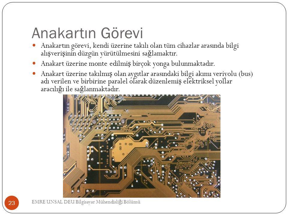 Anakartın Görevi Anakartın görevi, kendi üzerine takılı olan tüm cihazlar arasında bilgi alı ş veri ş inin düzgün yürütülmesini sa ğ lamaktır. Anakart