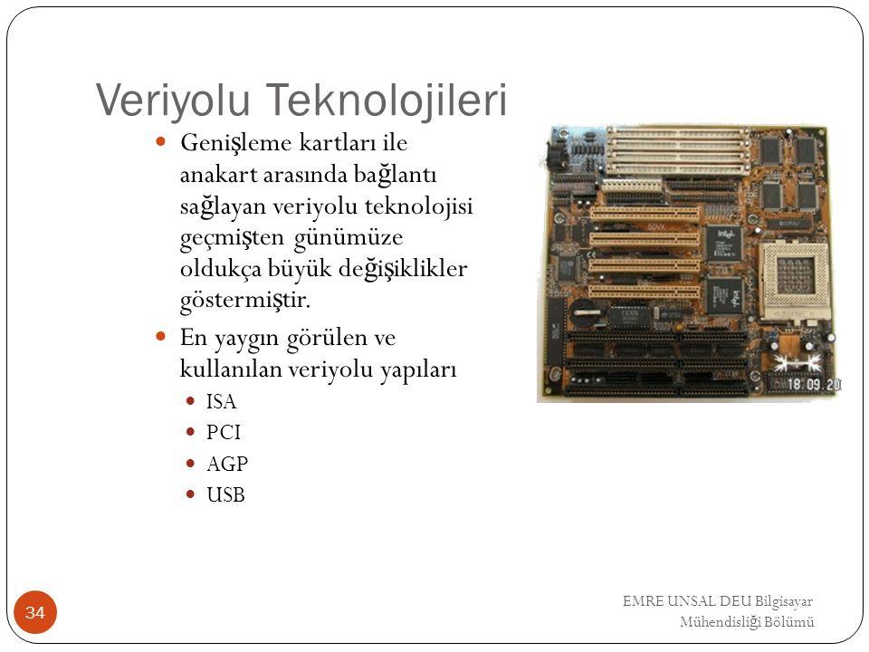 EMRE UNSAL DEU Bilgisayar Mühendisli ğ i Bölümü Veriyolu Teknolojileri Geni ş leme kartları ile anakart arasında ba ğ lantı sa ğ layan veriyolu teknol