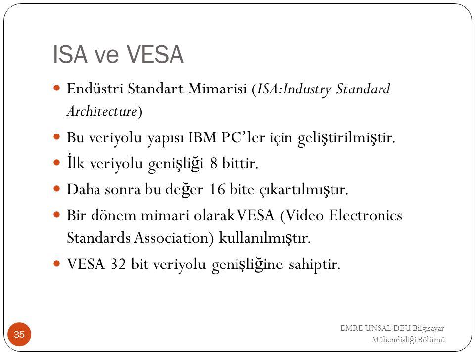 EMRE UNSAL DEU Bilgisayar Mühendisli ğ i Bölümü ISA ve VESA Endüstri Standart Mimarisi (ISA:Industry Standard Architecture) Bu veriyolu yapısı IBM PC'