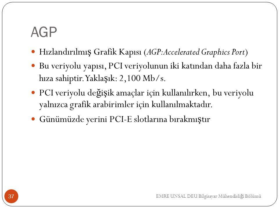 EMRE UNSAL DEU Bilgisayar Mühendisli ğ i Bölümü AGP Hızlandırılmı ş Grafik Kapısı (AGP:Accelerated Graphics Port) Bu veriyolu yapısı, PCI veriyolunun