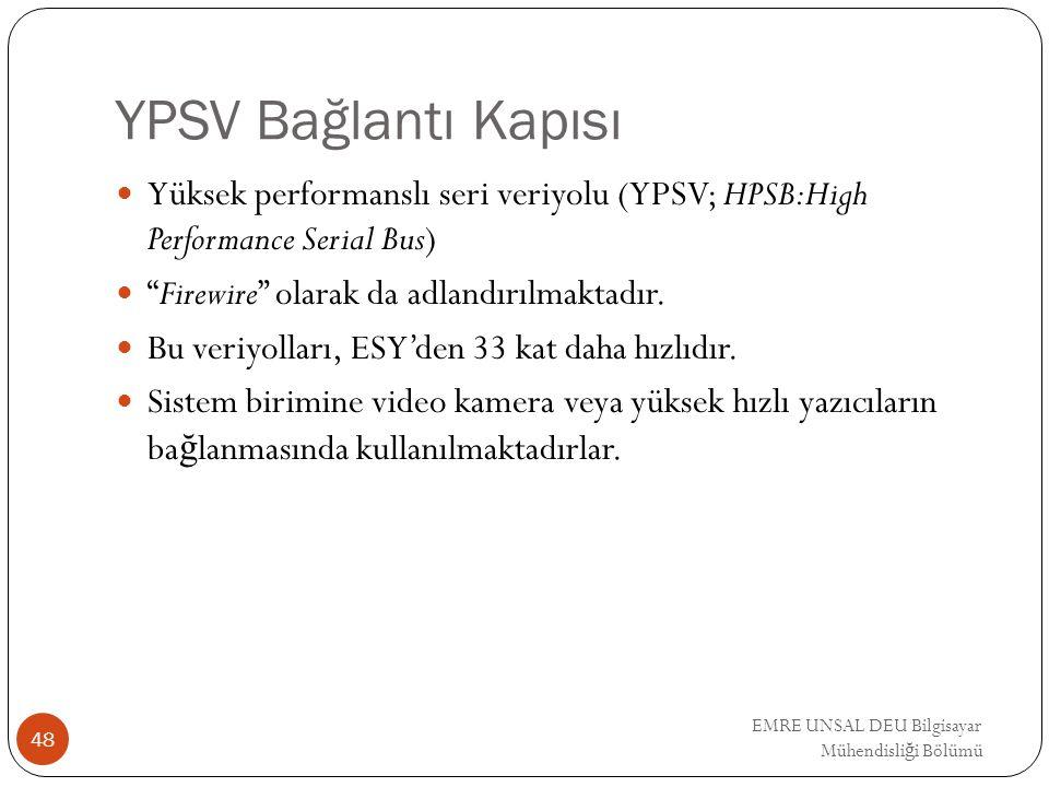 """EMRE UNSAL DEU Bilgisayar Mühendisli ğ i Bölümü YPSV Bağlantı Kapısı Yüksek performanslı seri veriyolu (YPSV; HPSB:High Performance Serial Bus) """"Firew"""
