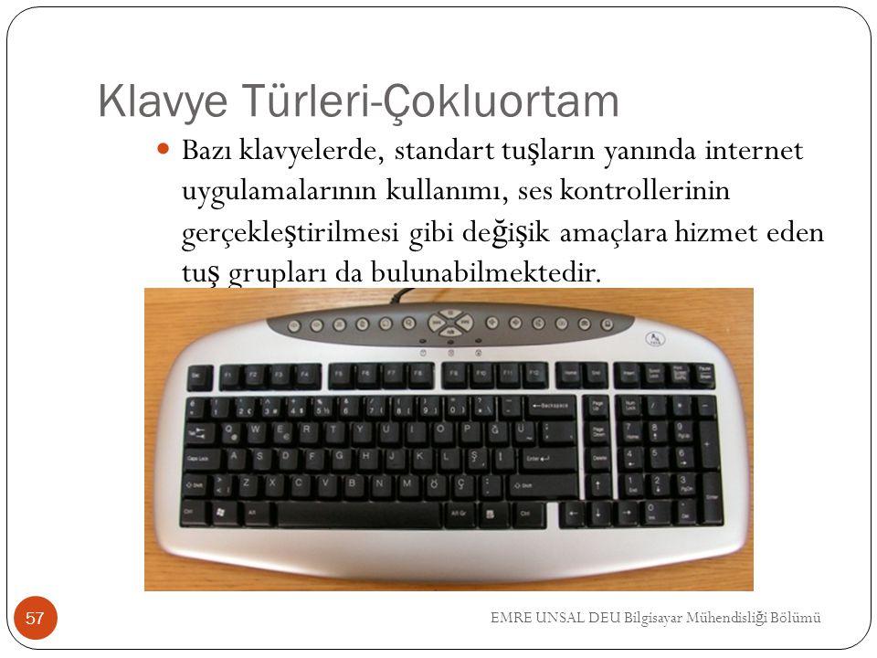 EMRE UNSAL DEU Bilgisayar Mühendisli ğ i Bölümü Klavye Türleri-Çokluortam Bazı klavyelerde, standart tu ş ların yanında internet uygulamalarının kulla