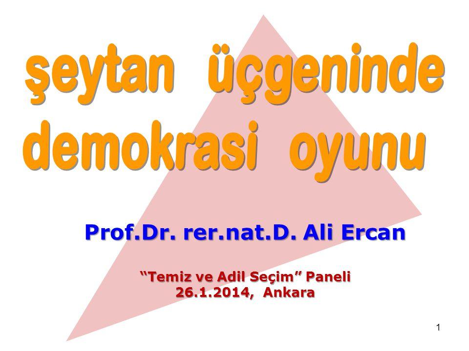 """1 Prof.Dr. rer.nat.D. Ali Ercan """"Temiz ve Adil Seçim"""" Paneli 26.1.2014, Ankara"""