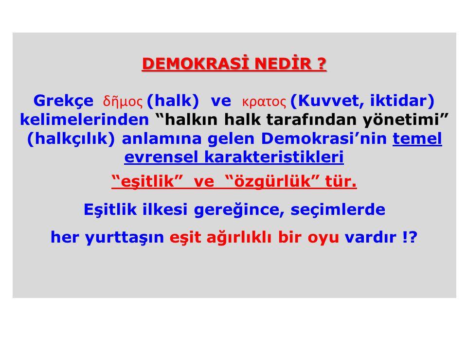 """DEMOKRASİ NEDİR ? Grekçe δῆμος (halk) ve κρατος (Kuvvet, iktidar) kelimelerinden """"halkın halk tarafından yönetimi"""" (halkçılık) anlamına gelen Demokras"""