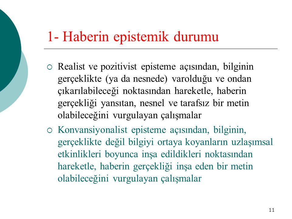 11 1- Haberin epistemik durumu  Realist ve pozitivist episteme açısından, bilginin gerçeklikte (ya da nesnede) varolduğu ve ondan çıkarılabileceği no
