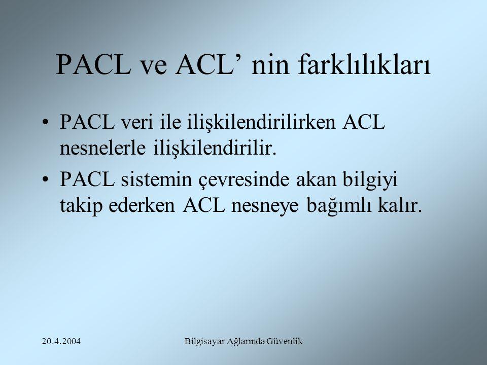 20.4.2004Bilgisayar Ağlarında Güvenlik PACL ve ACL' nin farklılıkları PACL veri ile ilişkilendirilirken ACL nesnelerle ilişkilendirilir. PACL sistemin