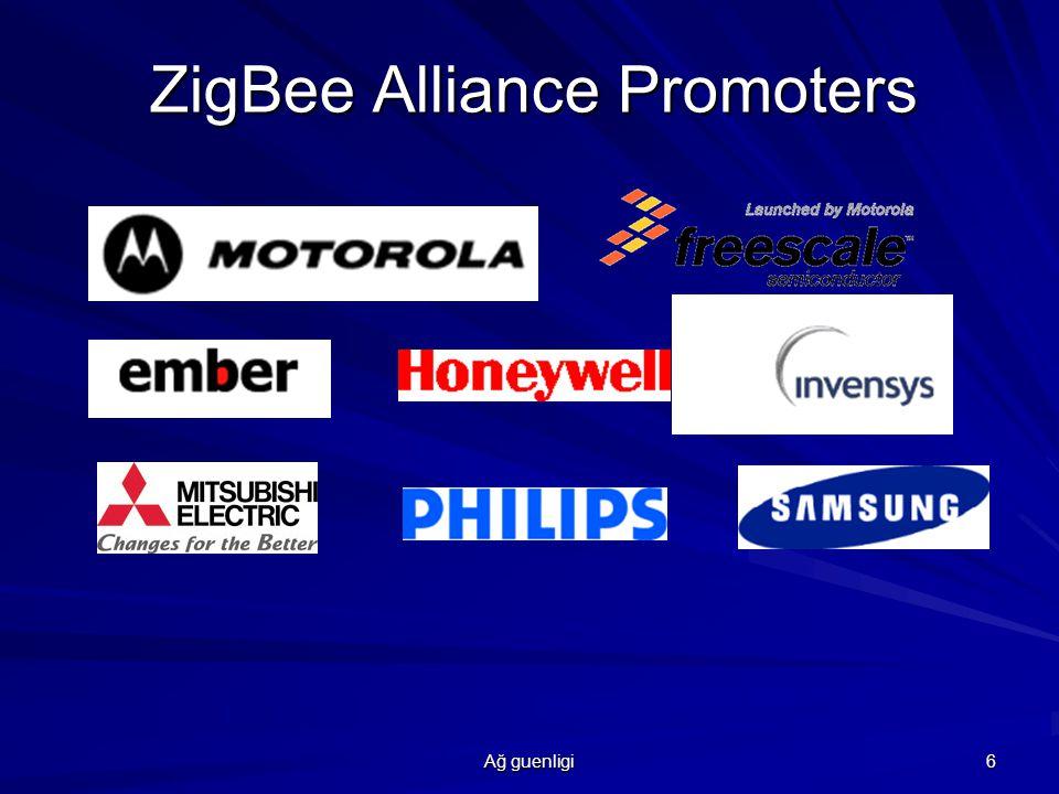 Ağ guenligi 7 Network Features Zigbee her çeşit topolojiyi destekliyor,genelde star,mesh,cluster Networks,mesh networking kullanılıyor.Mesh network zigbee tasarımındaesasır.