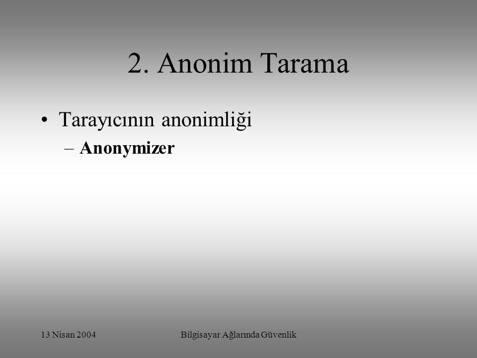 13 Nisan 2004Bilgisayar Ağlarında Güvenlik 2. Anonim Tarama Tarayıcının anonimliği –Anonymizer