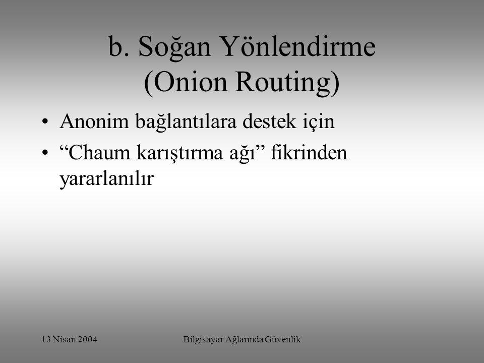 """13 Nisan 2004Bilgisayar Ağlarında Güvenlik b. Soğan Yönlendirme (Onion Routing) Anonim bağlantılara destek için """"Chaum karıştırma ağı"""" fikrinden yarar"""