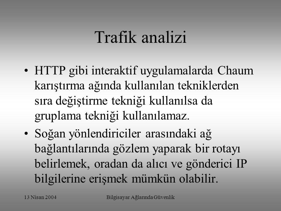 13 Nisan 2004Bilgisayar Ağlarında Güvenlik Trafik analizi HTTP gibi interaktif uygulamalarda Chaum karıştırma ağında kullanılan tekniklerden sıra değiştirme tekniği kullanılsa da gruplama tekniği kullanılamaz.