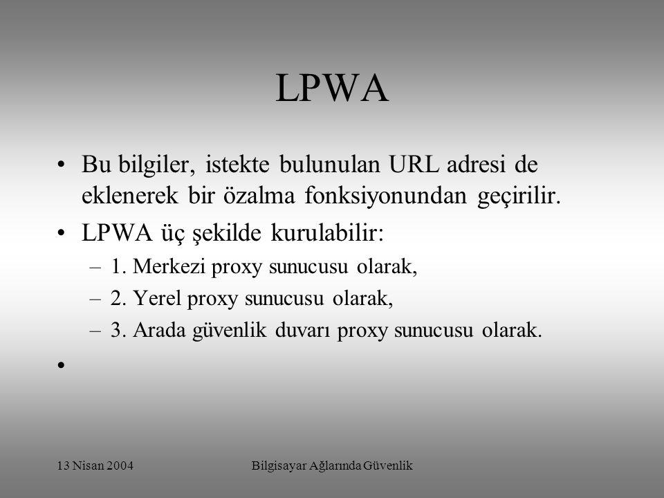 13 Nisan 2004Bilgisayar Ağlarında Güvenlik LPWA Bu bilgiler, istekte bulunulan URL adresi de eklenerek bir özalma fonksiyonundan geçirilir. LPWA üç şe