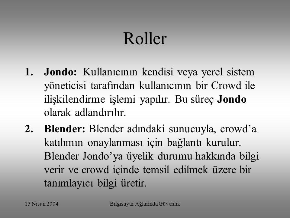 13 Nisan 2004Bilgisayar Ağlarında Güvenlik Roller 1.Jondo: Kullanıcının kendisi veya yerel sistem yöneticisi tarafından kullanıcının bir Crowd ile ilişkilendirme işlemi yapılır.