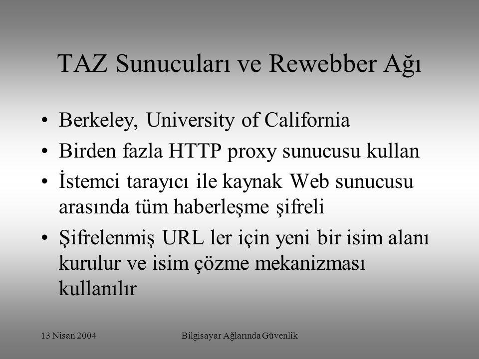 13 Nisan 2004Bilgisayar Ağlarında Güvenlik TAZ Sunucuları ve Rewebber Ağı Berkeley, University of California Birden fazla HTTP proxy sunucusu kullan İstemci tarayıcı ile kaynak Web sunucusu arasında tüm haberleşme şifreli Şifrelenmiş URL ler için yeni bir isim alanı kurulur ve isim çözme mekanizması kullanılır
