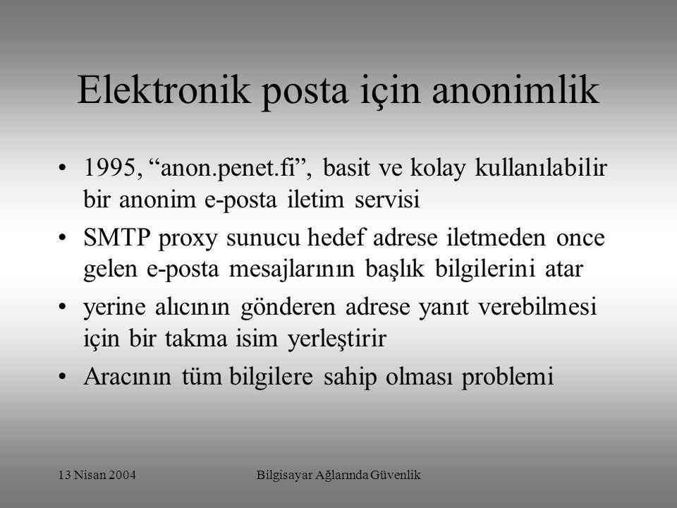 13 Nisan 2004Bilgisayar Ağlarında Güvenlik Elektronik posta için anonimlik 1995, anon.penet.fi , basit ve kolay kullanılabilir bir anonim e-posta iletim servisi SMTP proxy sunucu hedef adrese iletmeden once gelen e-posta mesajlarının başlık bilgilerini atar yerine alıcının gönderen adrese yanıt verebilmesi için bir takma isim yerleştirir Aracının tüm bilgilere sahip olması problemi