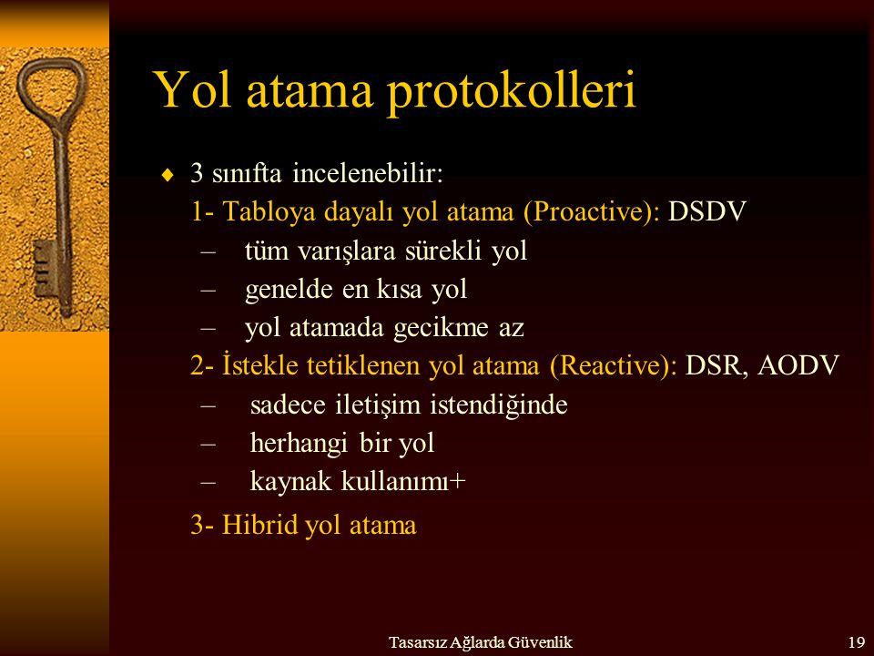 Tasarsız Ağlarda Güvenlik19 Yol atama protokolleri  3 sınıfta incelenebilir: 1- Tabloya dayalı yol atama (Proactive): DSDV –tüm varışlara sürekli yol